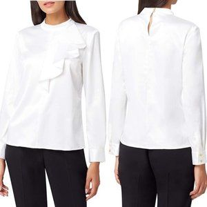 Tahari ASL Mock Neck Long Sleeve Ruffle Blouse S